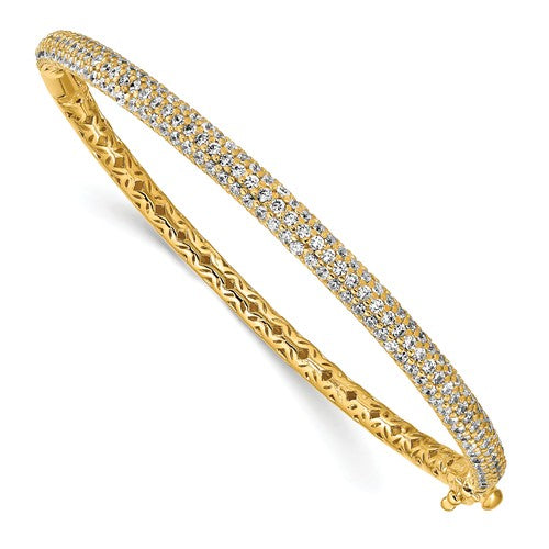 Sterling Silver Pavé Gold-tone 175 Stone CZ Hinged Bangle
