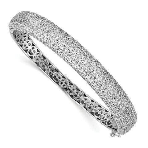Sterling Silver Pavé Rhodium-plated 384 Stone CZ Hinged Bangle