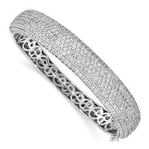 Sterling Silver Pavé Rhodium-plated 504 Stone CZ Hinged Bangle