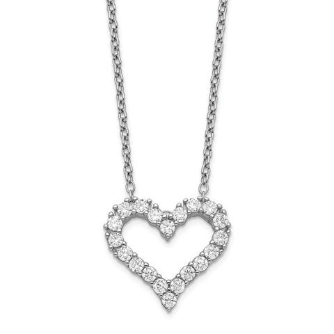 Sterling Silver Rhodium-plated CZ Heart with 2in ext. Necklace