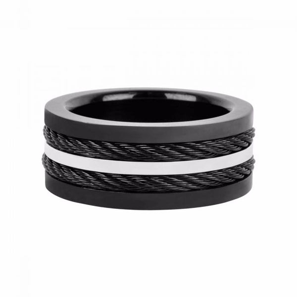 Multiple Cables Inlayed in Plated Black Ring - Size 10