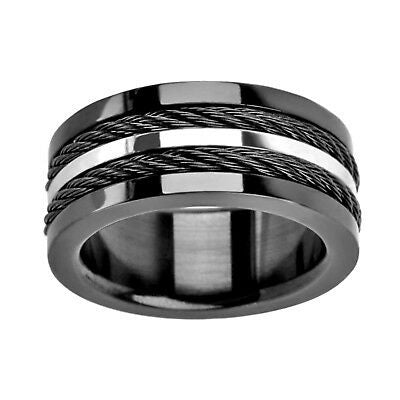 Multiple Cables Inlayed in Plated Black Ring - Size 11