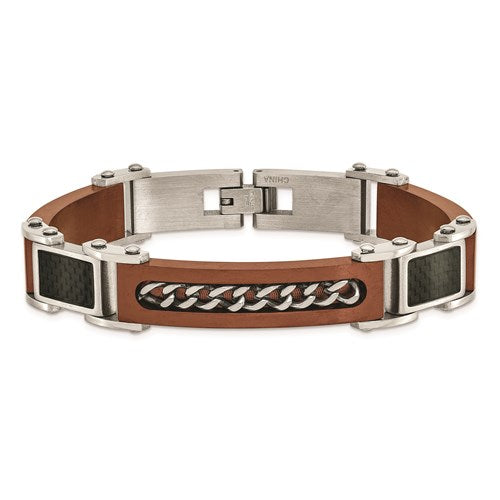 Stainless Steel Brushed/Polished Brown IP Carbon Fiber Inlay 8.5in Bracelet