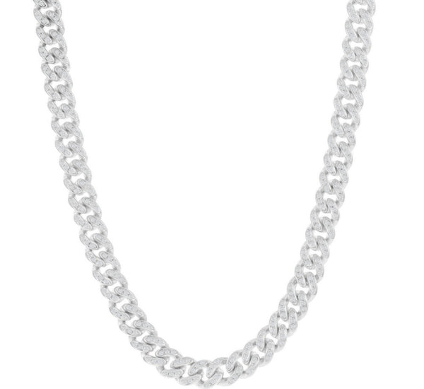 Sterling Silver Micro Pave CZ, 6mm Miami Cuban Chain - Rhodium Plated