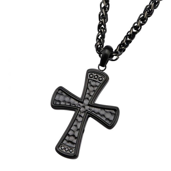 Stainless Steel Black Plated with Black CZ Gem Hammered Cross Pendant with Chain