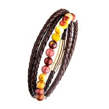 Double Wrap Brown Leather with Mookaite Beads Bracelet
