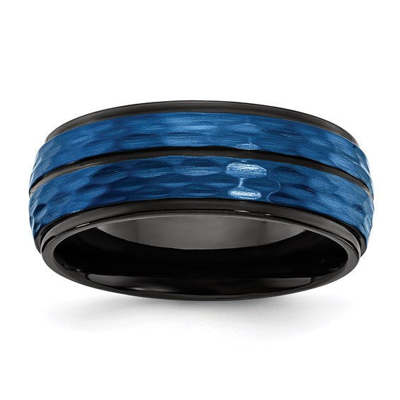 Stainless Steel Brushed and Polished Black/Blue IP-plated 8.00mm Band