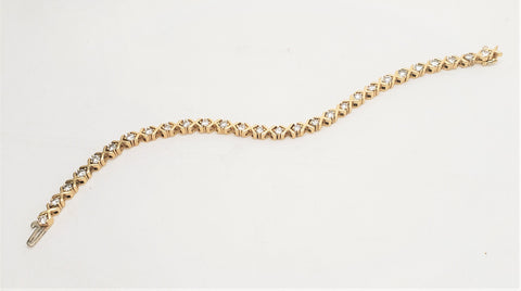 14k Yellow Gold & 3tcw Diamonds - Hugs & Kisses Tennis Bracelet -7''