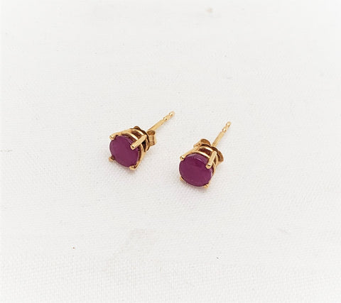 14k Yellow Gold Round Ruby Basket Stud Earrings