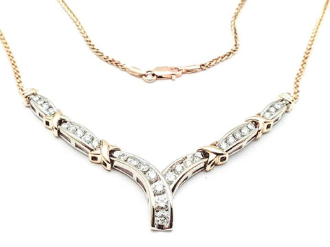 10K Yellow Gold 32 Diamond Necklace - 17""