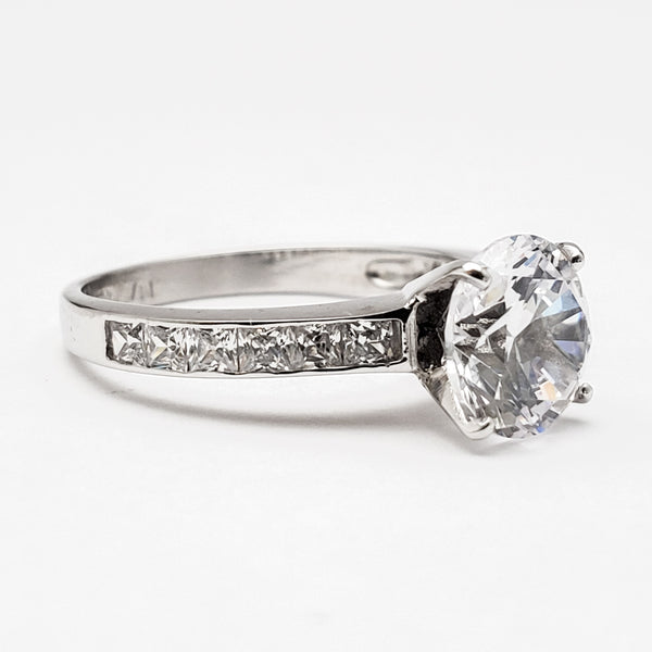 Ladies 10K White Gold CZ Ring - Size 7