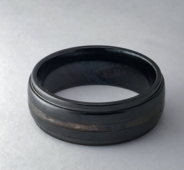 Black & Bronze Ceramic Ring - Size 10