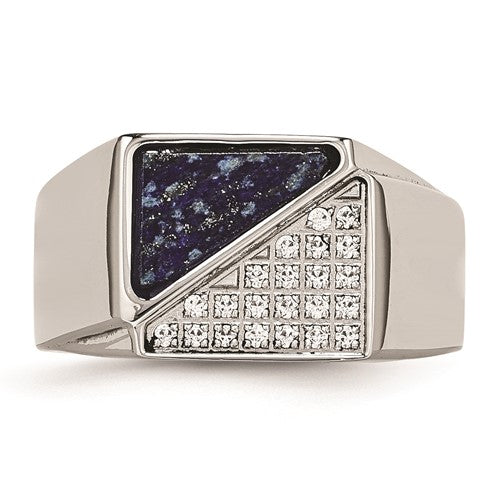 Stainless Steel Polished with Lapis Lazuli Inlay and CZ Ring - Size 9
