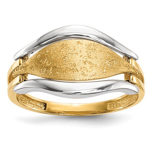 14K Two-tone Polished and Textured Ring - Size 7