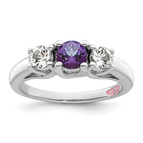 Sterling Silver Survivor Collection Clear and Purple Swarovski Topaz Pamela Ring - Size 7