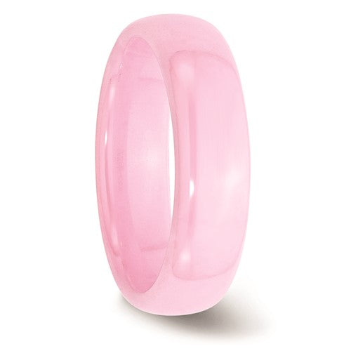 Ceramic Pink 6mm Polished Band - Size 7