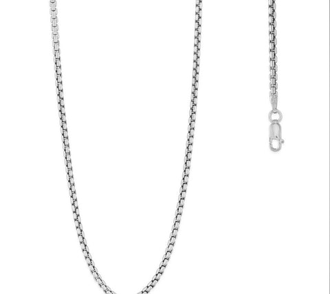 Sterling Silver 2.6mm Round Box Chain - Rhodium Plated