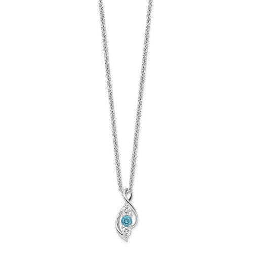 Sterling Silver Survivor Collection Clear and Blue Swarovski Topaz Legacy Necklace