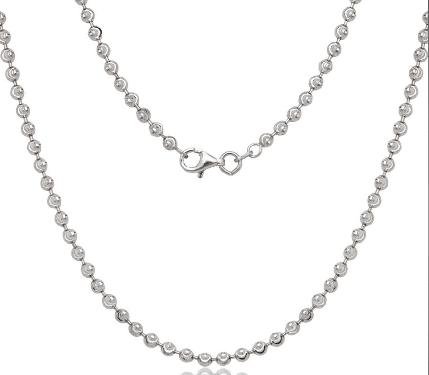 Sterling Silver 3mm Diamond Cut Moon Bead Chain - Rhodium Plated