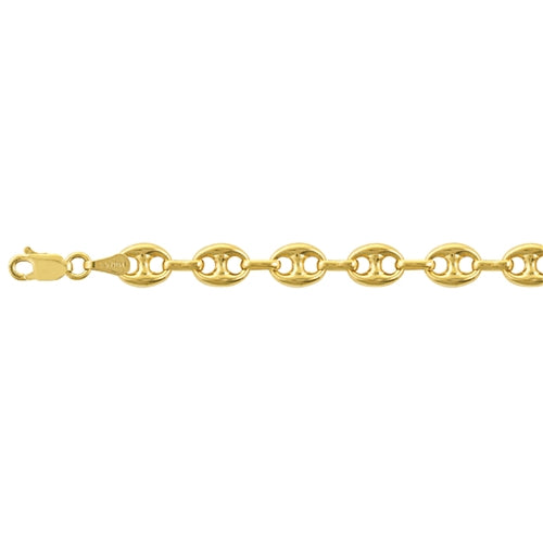 6.8MM 14K Yellow Gold Puffed Mariner Chain - 24 Inches