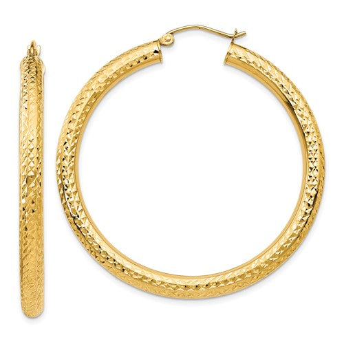 14K Yellow Gold Diamond-cut 4mm Round Hoop Earrings