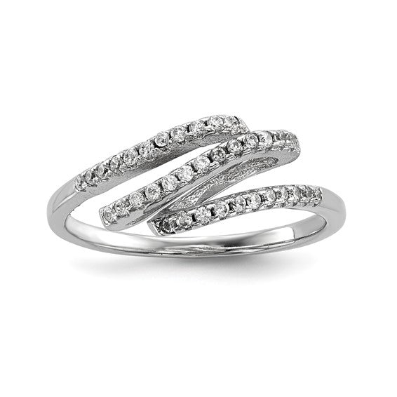 Sterling Silver Rhodium-plated CZ Ring - Size 7