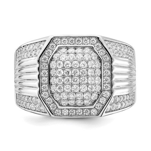 Sterling Silver Polished Ribbed Sides CZ Men's Ring - Size 10