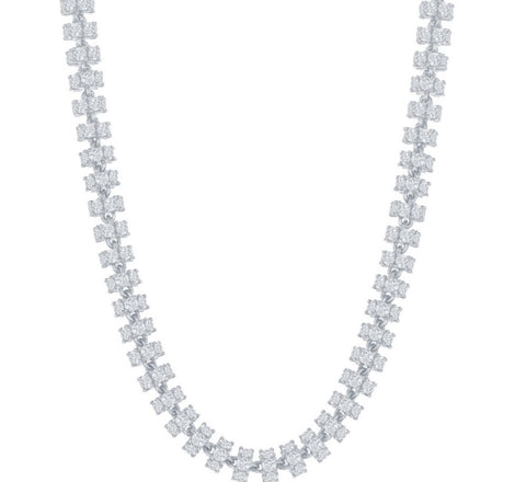 Sterling Silver 6mm Barrel CZ Chain - Rhodium Plated
