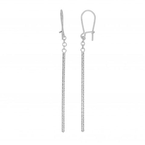 14kt Gold White Finish 60x1.5mm Diamond Cut+Shiny Drop Earring with Euro Wire Clasp