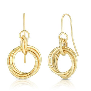 14kt Gold Yellow Finish Textured Earring with Euro Wire Clasp