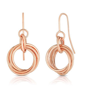14kt Gold Rose Finish Textured Round Drop Knot Earring with Euro Wire Clasp