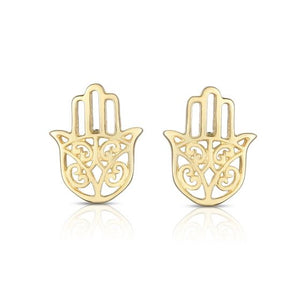 14kt Gold Yellow Finish 6x8mm Shiny Fancy Post Hamsa Earring with Push Back Clasp