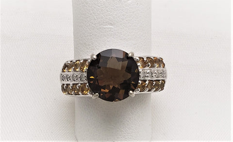 Ladies Sterling Silver Whiskey Quartz, Citrine, & Cubic Zirconia Ring