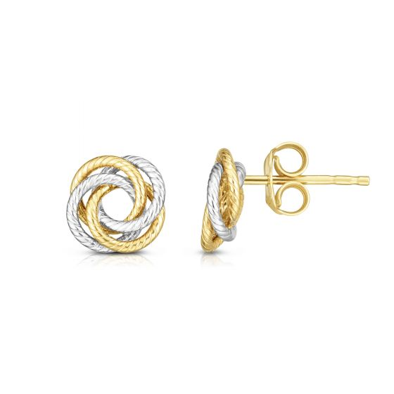 14kt Gold Two Tone Finish Earring with Push Back Clasp