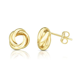 14kt Gold Yellow Finish Shiny Round Post Loveknot Earring with Push Back Clasp