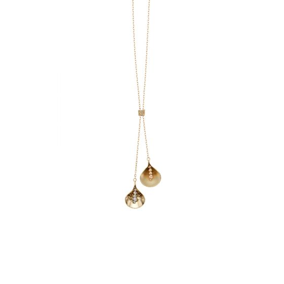 14kt Gold 17'' Finish 1.1-67mm Diamond Cut Tear Drop Lariat Necklace with Lobster Clasp