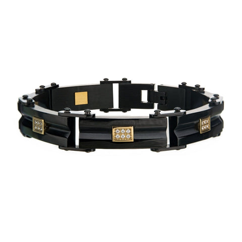 Stainless Steel Black Plated Bracelet Layered Gold Plated with CZ on the Middle