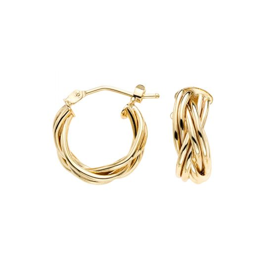 14kt Gold Yellow Finish Earring with Hinged Clasp