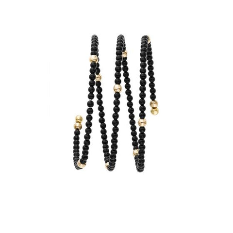 14kt Gold Yellow Finish 3mm Shiny Double Strand Wrap-Around Bead Bangle + 2mm Ball Black Onyx