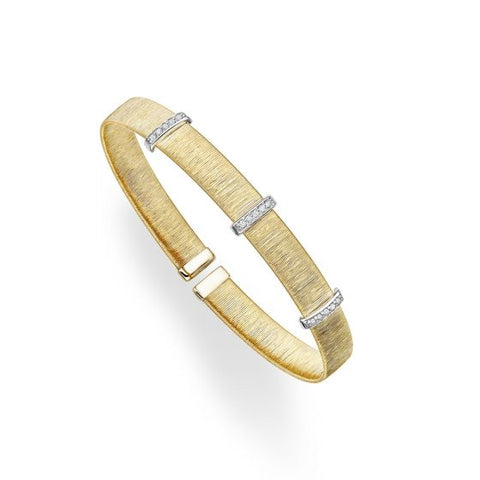 14kt Gold Yellow+Rhodium Finish 7mm Textured Flat Cuff Triple Bar Bangle with 0.1500ct 1.3mm White Diamond
