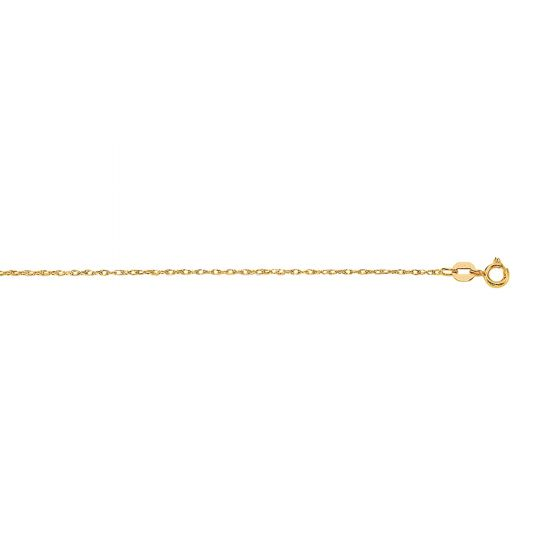 14Kt 18'' Yellow Gold Diamond Cut Carded Pendant Rope Chain with Spring Ring Clas P