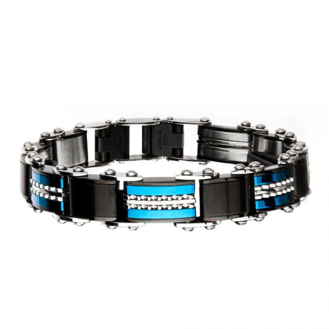 Double Sided Stainless Steel Black Plated and Blue Plated Reversible Bracelet