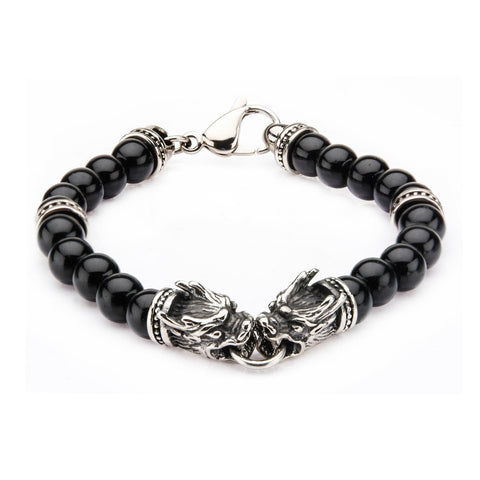 Stainless Steel Dragon Bite and Black Onyx Beads Bracelet.
