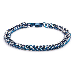 Steel Blue Plated Curb Chain Bracelet