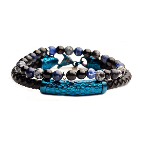 Onyx Bead, Blue Steel and Brown Leather Stackable Bracelets