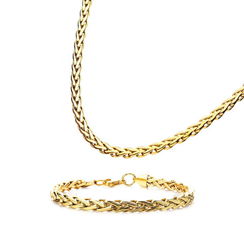 Stainless Steel Gold Plated 6mm Spiga Chain Shiny