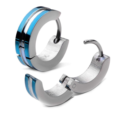 Stainless Steel Blue Plated Huggies Earrings