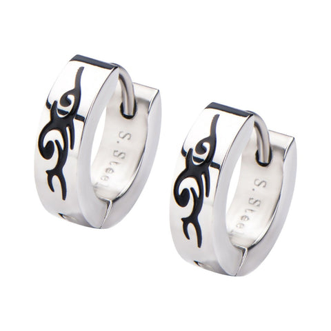 Tribal Design Huggies Earrings