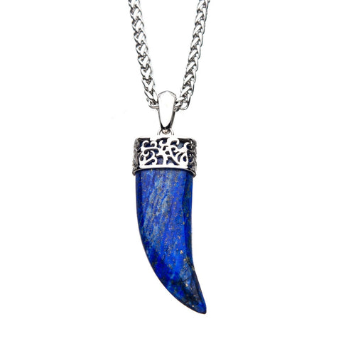 Lapis Lazuli Claw Stainless Steel Pendant