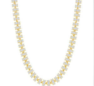 Sterling Silver 6mm Barrel CZ Chain - Gold Plated